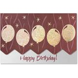 Gold Balloons Birthday Deluxe Greeting Card Set
