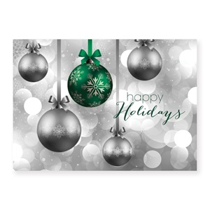 Ornaments and Bubbles Classic Holiday Greeting Cards