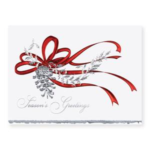 Pine Cone in Red Deluxe Holiday Greeting Cards