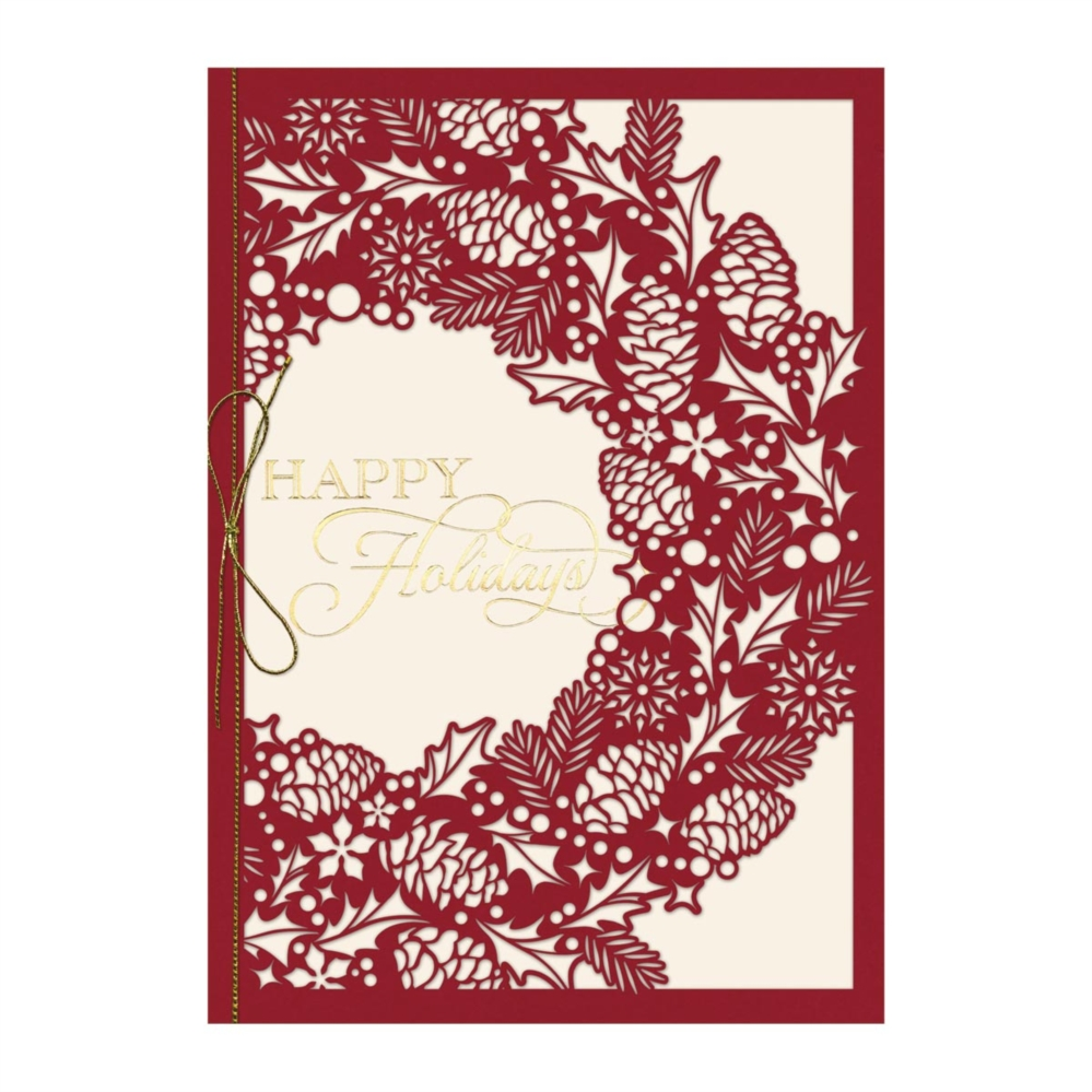 intricate wreath premium holiday greeting card - Holiday Christmas Cards
