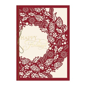 Intricate Wreath Premium Holiday Greeting Cards