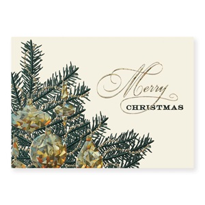 Merry Xmas Tree Deluxe Holiday Greeting Cards