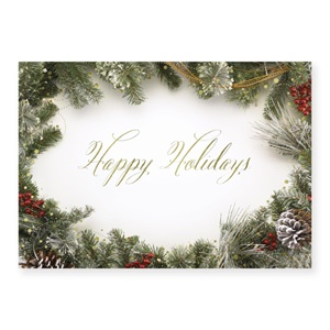 Berries and Greenery Deluxe Holiday Greeting Cards