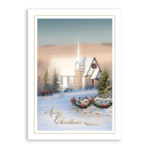 Country Church Deluxe Holiday Greeting Cards