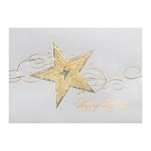 Bright Gold Star Deluxe Holiday Greeting Cards