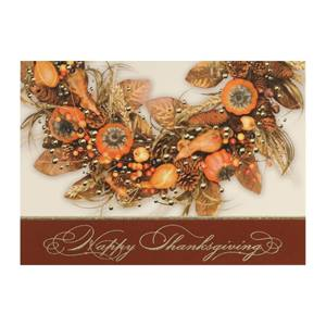 Thanksgiving Wreath Deluxe Holiday Greeting Cards