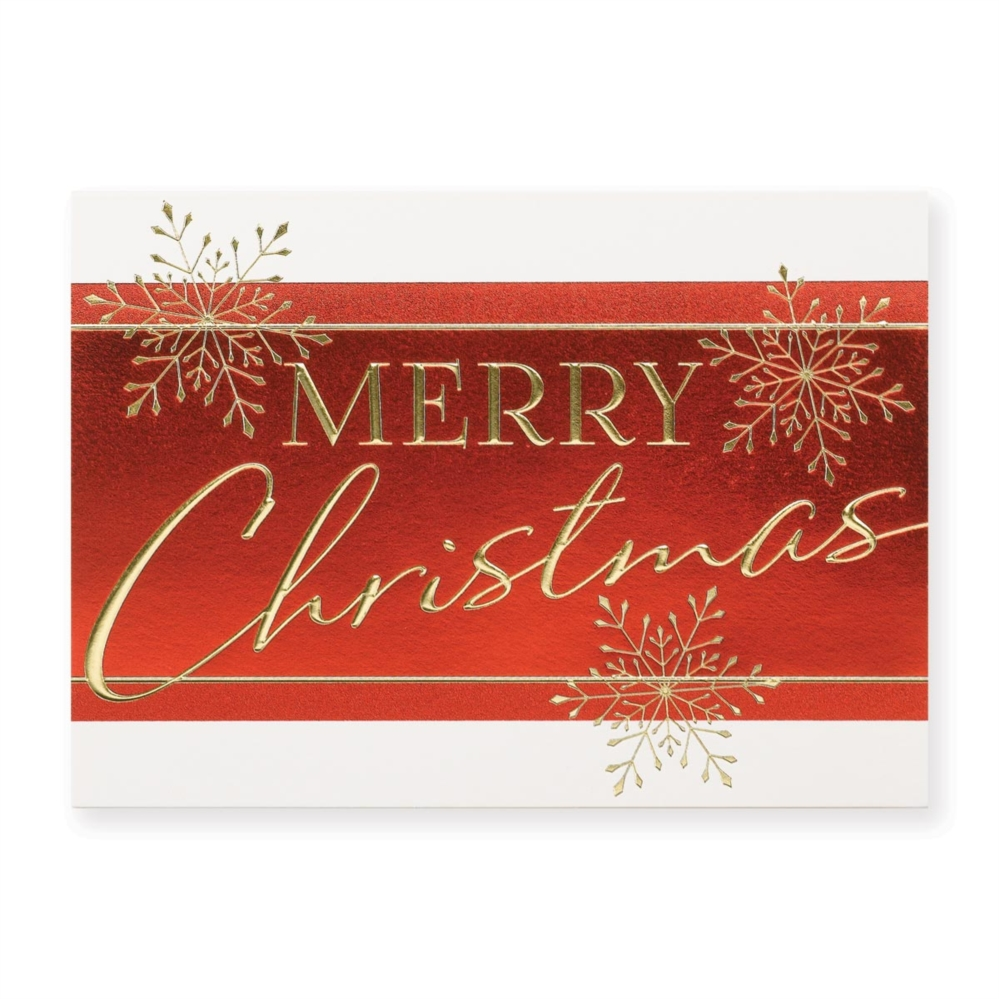 Merry Christmas Flakes Deluxe Holiday Greeting Cards Paperdirects