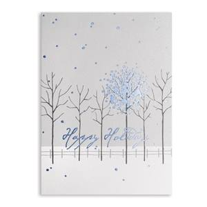 Cobalt Snowflakes Deluxe Holiday Greeting Cards