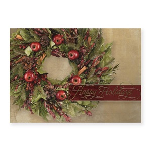 Fruitful Wreath Deluxe Holiday Greeting Cards