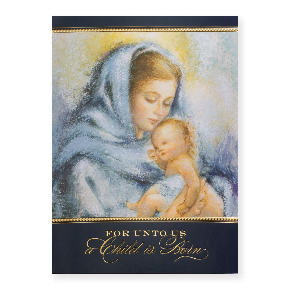 Madonna and Child in Soft Blues Deluxe Greeting Card | PaperDirect\'s