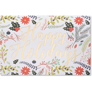 Happy Holidays Floral Deluxe Greeting Card