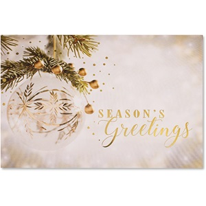 Dazzling Ornament in Gold Deluxe Greeting Card