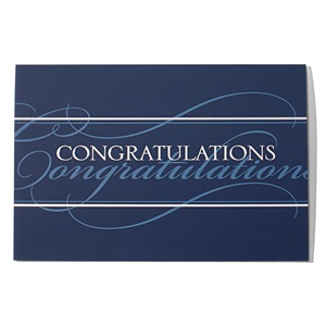 Blue and White Congratulations Greeting Card