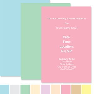 Pastel Custom Colors Casual Invitations