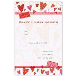 Flower Hearts Casual Invitations