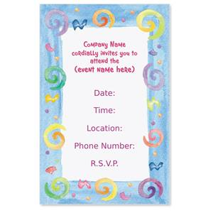 Party Swirls Casual Invitations