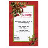 Ribbons and Holly Casual Invitations