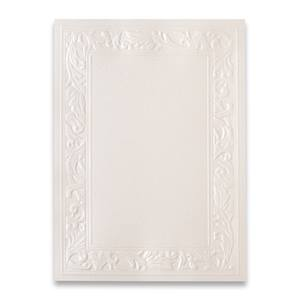 Ornate Cream Shimmer Embossed Specialty Flat Invitation