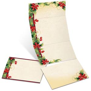 Holly Berry Swirls Fold-Up Invitations