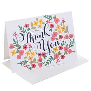 Retro Floral Thank You Note Cards