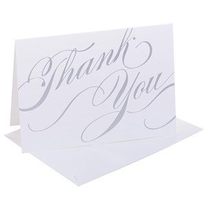 Silver Unending Gratitude Thank You Note Cards