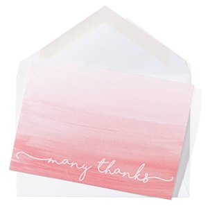 Many Thanks Coral Ombre Note Cards