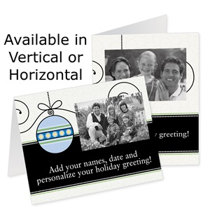 Graphic Ornament Holiday Photo Note Cards