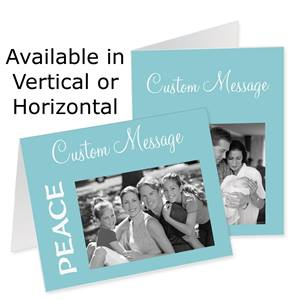 Peace Azure Holiday Photo Note Cards