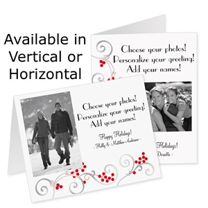 Silver Scroll Holiday Photo Note Cards