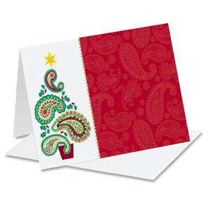 Paisley Tree Holiday Photo Note Cards