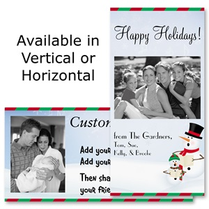 "Caroling Snowmen Holiday 4""x8"" Photo Cards, Studio Cards"