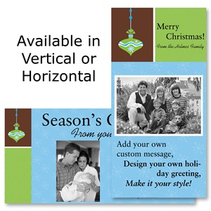 "Christmas Glee Holiday 4""x8"" Photo Cards, Studio Cards"