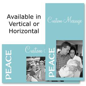 "Peace Azure Holiday 4""x8"" Photo Cards, Studio Cards"