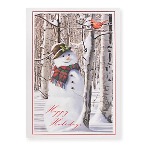 Snowman with Cardinal Boxed Holiday Greeting Cards