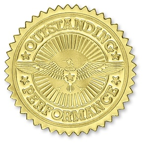 Outstanding Performance Gold Foil Certificate Seals