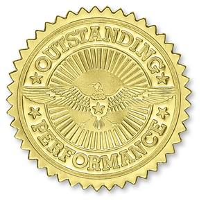 Certificate seals embossed designs paperdirects outstanding performance gold foil certificate seals yadclub Image collections