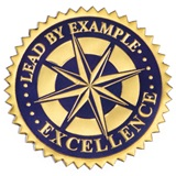 Gold and Navy Lead By Example Embossed Foil Seals