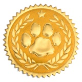 Laurel and Paw Gold Embossed Foil Seals