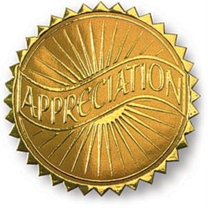 Appreciation Embossed Gold Foil Certificate Seals
