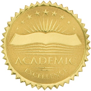 academic excellence embossed gold foil certificate seals