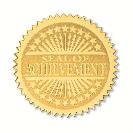 Seal Of Achievement Embossed Gold Certificate Seals