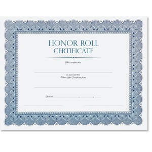 Honor Roll Traditional Blue Certificate