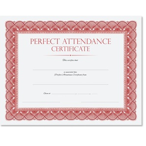 Red Traditional Perfect Attendance Certificates