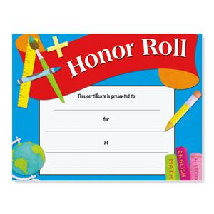 Honor Roll Award Casual Certificates