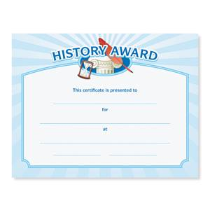 History Award Casual Certificates