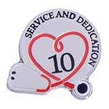 Stethoscope Service & Dedication 10 Year Pin