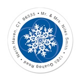 Snowflakes Round Address Labels