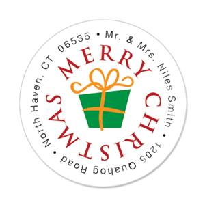 merry christmas round address labels paperdirect s