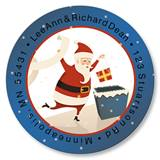 Retro Santa Round Address Labels