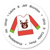 Ugly Christmas Sweater Round Address Labels